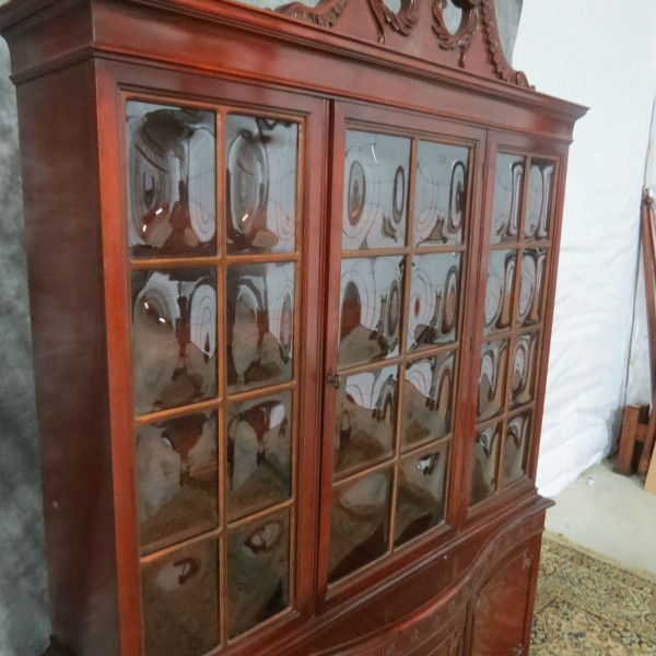 Antique chippendale chairs - Antique Mahogany China Cabinet With Bubble Glass 600 00 This Antique