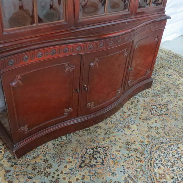 Antique Mahogany China Cabinet With Bubble Glass - Casey and Gram