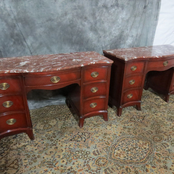 Pair Of Drexel Marble Top Vanity Desks Casey And Gram